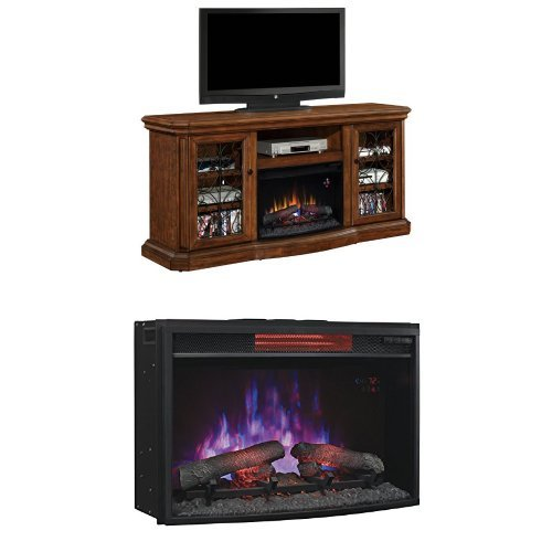 "Complete Set Beauregard Media Mantel In Antique Caramel With 25"" Infrared Curved Spectrafire Plus Insert With Safer Plug"