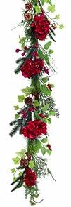 Melrose International 72-Inch Hydrangea Garland Red
