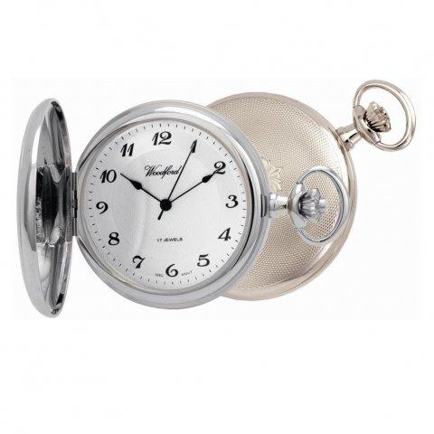 Chrome Plated 17 Jewel Mechanical Full Hunter Pocket Watch 1027