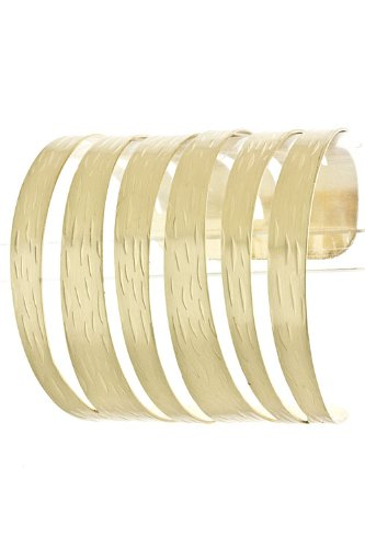 Trendy Fashion Jewelry Sliced Up Cuff By Fashion Destination | (Matted Gold)