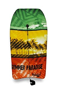 Red, Green, Yellow Tropical Palm Trees Body Board 41 in.