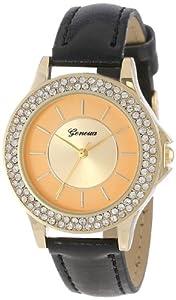 Geneva Women's 2378-Gold/Black-GEN Modern Rhinestone Boyfriend Faux Leather Band Watch