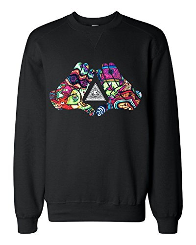 Mickey Hands Showing Illuminati Triangle Classic Sweatshirt Medium