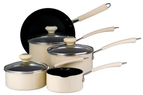 Prestige Aluminium Non-stick Cookware Saucepan Set Almond Cream, 5 Piece