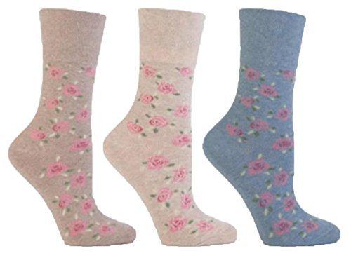 3x Pairs of Ladies Designer Gentle Grip Non-Elastic Cotton Socks with HoneyComb Top / UK 4-8 Eur 37-42 (Floral Multi)
