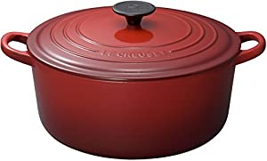 Le Creuset Enameled Cast-Iron 7-1/4-Quart Round French Oven, Cherry Red