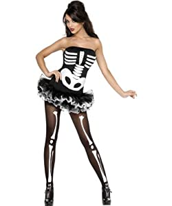 Fever Sexy Skeleton Costume, Black/White, Medium