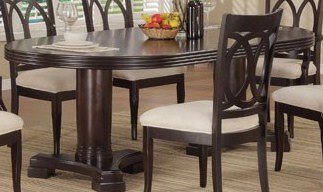Oval Dining Table Double Pedestal Base Transitional in Espresso