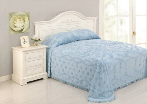 Peking Handicraft Modern Heirloom Collection Chenille Damask Bedspread, Full, Blue