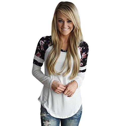Tops-T-ShirtWomen-Floral-Splice-Printing-Long-Sleeve-Round-Neck-Pullover-Tops-T-Shirt-S-White