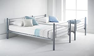 Happy Beds Cherry Silver Finished Quality Metal Bunk Bed With 2x Luxury Spring Mattress