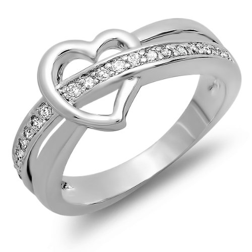 0.50 CT Platinum Plated Heart Ladies Round Cut White Cubic Zirconia CZ Promise Ring (Available in size 6, 7, 8)