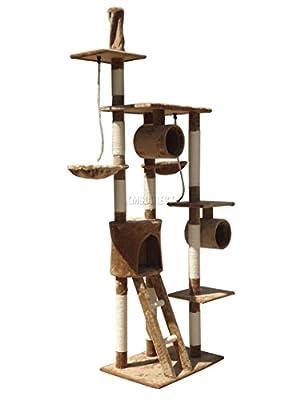 FoxHunter Deluxe Multi Level Cat Scratcher Cat Tree Activity Centre Scratching Post Activity Toys D006 Brown Faux Fur 50cm x 70cm x 230cm - 260cm Height Adjustable