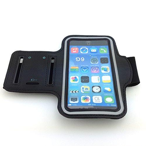 Joggingtasche für Samsung GALAXY S4 mini i9195 8GB deep-black Android Smartphone und alle 4,7 Zoll - 11,93 cm Smartphones - GYM, Fittness, Sport, Armband, Schutzhülle, Armbandhülle, Runner- Case, Sport Cover, Armhalter - schwarz Nylon/ Neopren
