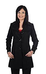 JAMES SCOT-Full Sleeves Solid Black Colour Woolen Winter Wear Long Coat For Womens