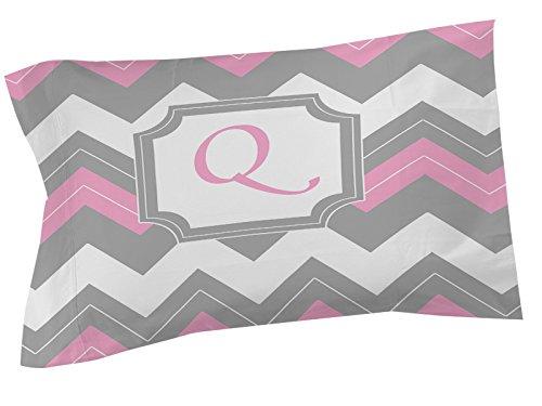 Thumbprintz Pillow Sham, Standard, Monogrammed Letter Q, Pink Chevron front-473600