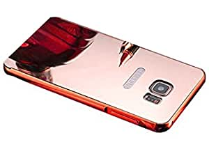 Aart Luxury Metal Bumper + Acrylic Mirror Back Cover Case For SamsungS7Edge RoseGold+ Flexible Portable Mount Cradle Thumb OK Designed Stand Holder
