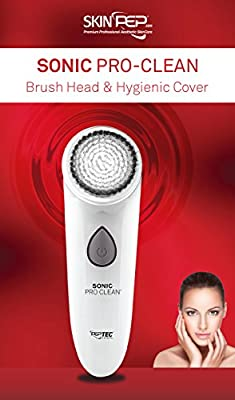 SkinPep Sonic Pro-Clean, Rechargeable Facial Cleansing Brush, Waterproof, Skin Care system, Electric Face Cleaner Facial Massager - (Money Back Guarantee) + 2 Free Bottles Of SkinPep Revitalising Cleansing Foam.