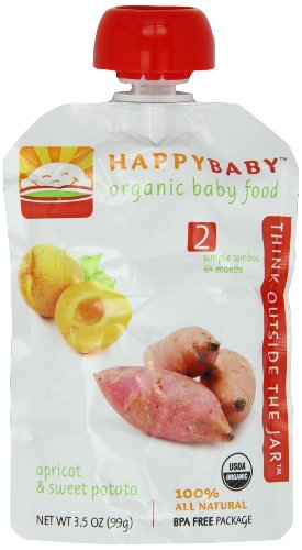Happy Baby Organic Baby Food 2 Simple Combos Apricot and Sweet Potato 3 5 Ounce Pouches Pack of 16
