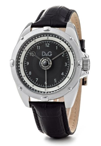 D&G Chalet Men's Quartz Watch DW0606 With Black Analogue Dial, Stainless Steel Case And Black Leather Strap