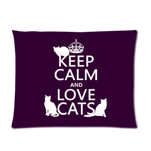 Generic Personalized Keep Calm And Love Cats For Picture Pillowcase 20X26 Inches (One Side) front-486584