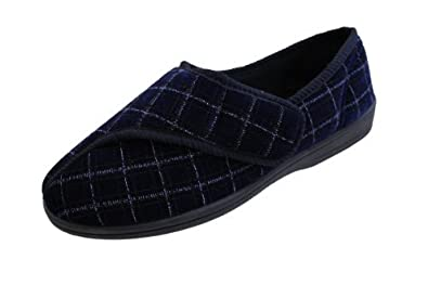 Mens Velcro Washable Burgundy Or Navy Slippers Navy UK Size 6
