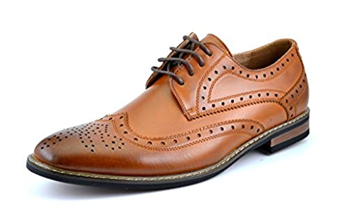 01. Bruno HOMME MODA ITALY PRINCE Men's Classic Modern Oxford Wingtip Lace Dress Shoes