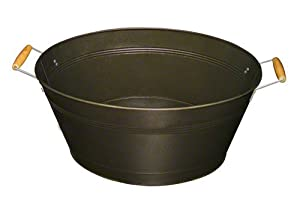 Update International BT-19OV Metal Beverage Tub with Wood Handles, Oval, Antique Bronze