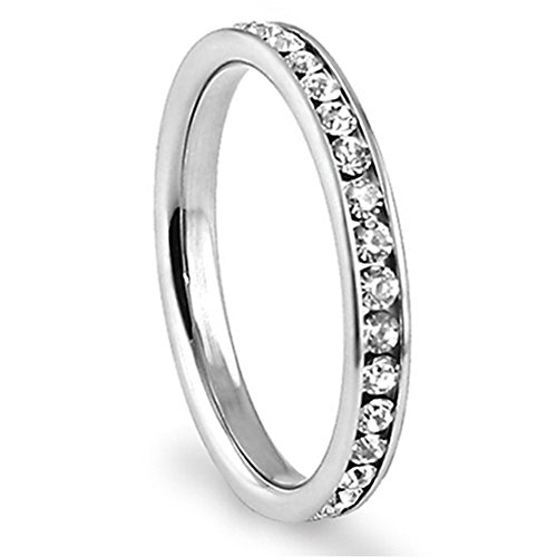 316L Stainless Steel White Cubic Zirconia CZ Eternity Wedding 3MM Band Ring Sz 8