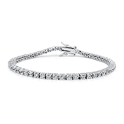 Bling Jewelry CZ Round Classic Four Prong Tennis Bracelet 925 Sterling Silver