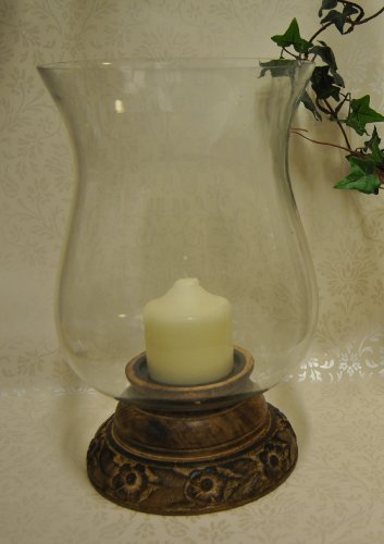 Large Mango Carved Wooden Flower and Leaf Hurricane Candle Holder Glass Lantern and 50 hour pillar candle - Ideal for Church Pillar Candles