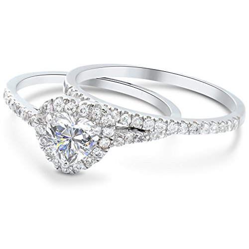 Women 2 Piece Heart Engagement Ring In Sterling Silver (7) (Two Tone Heart Ring compare prices)