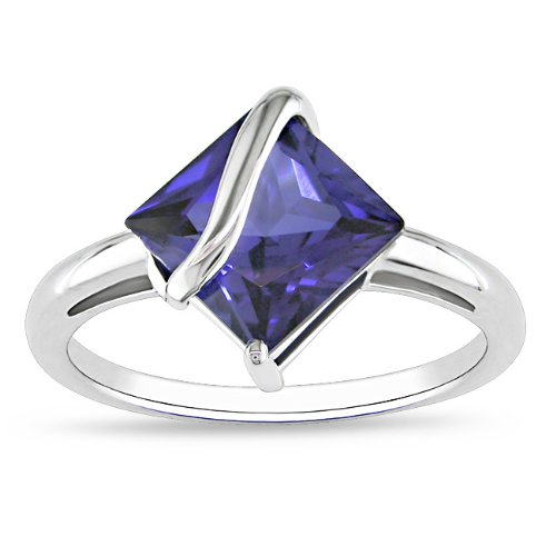Sterling Silver 2 4/5 CT TGW Square Created Sapphire Fashion Ring