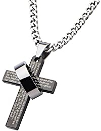 Inox Jewelry Black Stainless Steel Religious Cross With Prayer & Ring Pendant