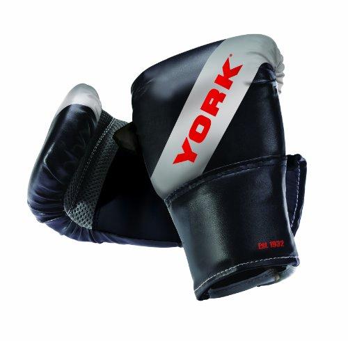York - Guantoni da boxe, taglia unica, colore: Nero/Argento/Rosso