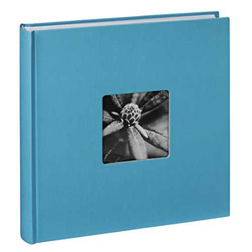 Jumbo Fotoalbum Fine Art 30 x 30 cm 100 Seiten 50 Blatt mit Ausschnitt für Bildeinschub hellblau