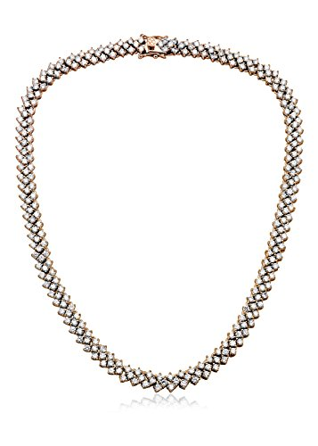 Megan Walford CZ Rose-Tone Sterling Silver Three Row Tennis Necklace
