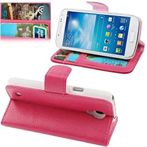 Lichi Texture Horizontal Flip Leather Case with Holder & Credit Card Slots for Samsung Galaxy S4 Mini i9190 (Magenta)