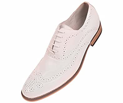 amali mens white smooth wingtip oxford dress shoe with