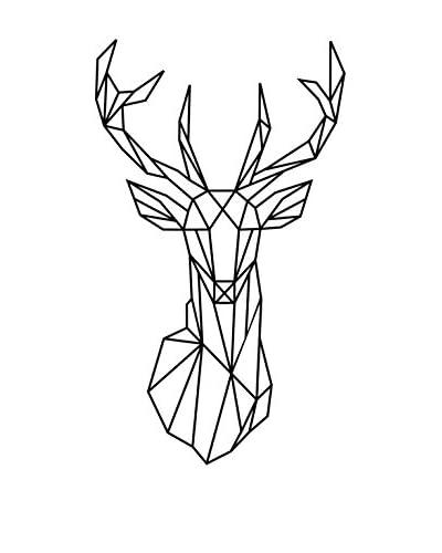 Ambiance-sticker Vinile Decorativo Deer Head Origami Style