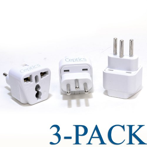 Ceptics Grounded Universal Plug Adapter For Switzerland (Type J) - 3 Pack
