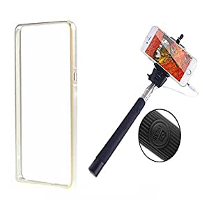 Dual Tone Circular Arc Shaped Metal Bumper Case Cover For SONY EXPERIA Z3 With Black color Selfie Stick
