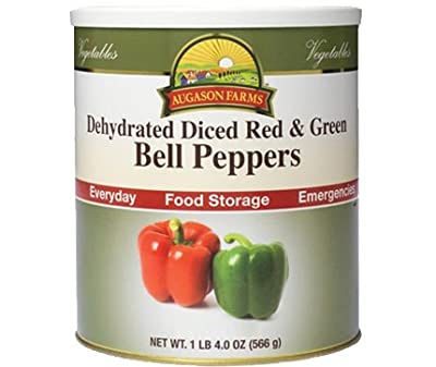 Augason Farms Emergency Food Dehydrated Diced Red & Green Bell Peppers Mix, 20 oz