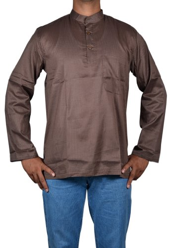 Indian Casual Wear Mens Short Kurta Made by Cotton Fabric with Standing Collar Neckline Size L