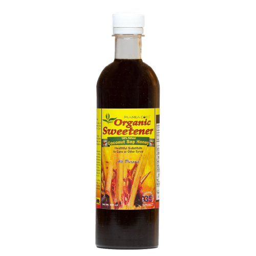 Organic Sweetener Coconut Sap Honey-Syrup By Manila Coco Tm - 25.4 Oz (750 Ml) : Concentrated All Natural Pure Nectar From Coconut Tree Blossoms - Sucrose Caramel Sweet [Brix 75] Dark Amber [Not Blonde] : Virgin [Unsulfited] Sap Slow Cooked In Wood-Fired