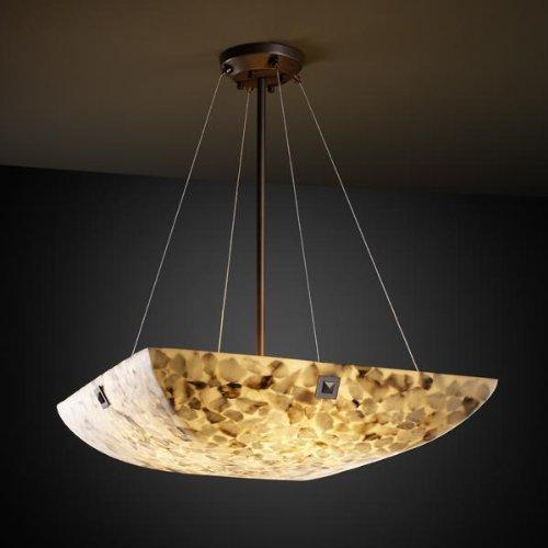 Justice Design Group ALR-9664-25 Alabaster Rocks!⢠36-in Square LED Bowl Pendant with Finials Dark Bronze, Concentric Squares Finial linguistic diversity and social justice