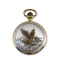 JD Manoir Two-tone White Dial Quartz Landing Eagle Pocket Watch