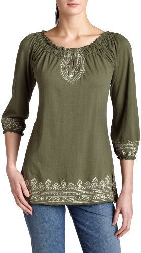 Lucky Brand Women's Embroidered Tunic,Free Green,X-Large