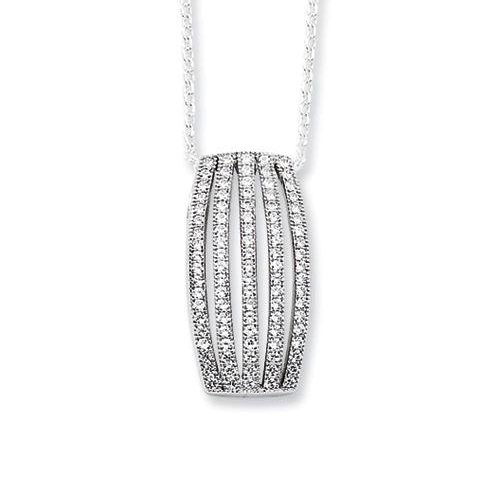 Stripes of Brilliance Silver Pendant with Five Rows of Pave