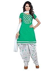 Lookslady Cotton Green Women Unstitched Salwar Kameez Suit Dress Material